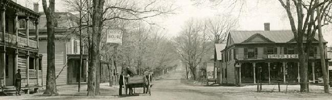 Along Main Street in Chester, NJ around 1890.